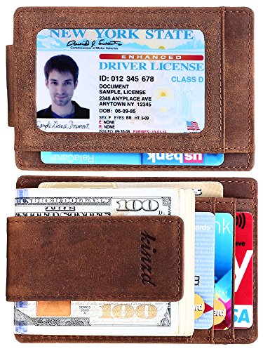 Money Clip, Front Pocket Wallet, Leather RFID Blocking Strong Magnet thin Wallet (One Size, Khaki (Updated ID Window Crazy Horse Leather)) (Leather Billfold Card Credit)