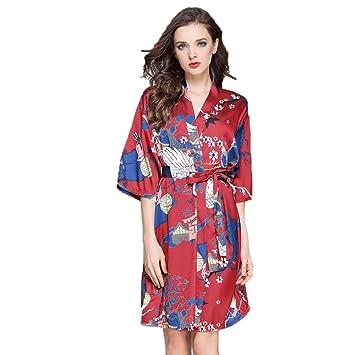 Forall-Ms Pijamas Mujeres Satinadas Bata Kimonos para Mujer Albornoz Corto para SPA/Boda/CumpleañOs,Red-XXL: Amazon.es: Hogar