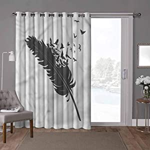 YUAZHOQI Thermal Insulated Room Divider Blackout Patio Curtains, Raven,Flying Flock of Birds, W100 x L108 Inch Decorative Room Divider(1 Panel)