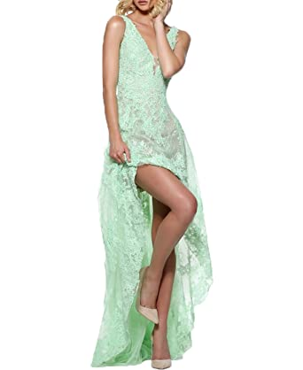 BONBETE Womens V Neck High Low Mint Green Sexy Lace Prom Dress Long Party Evening Dress
