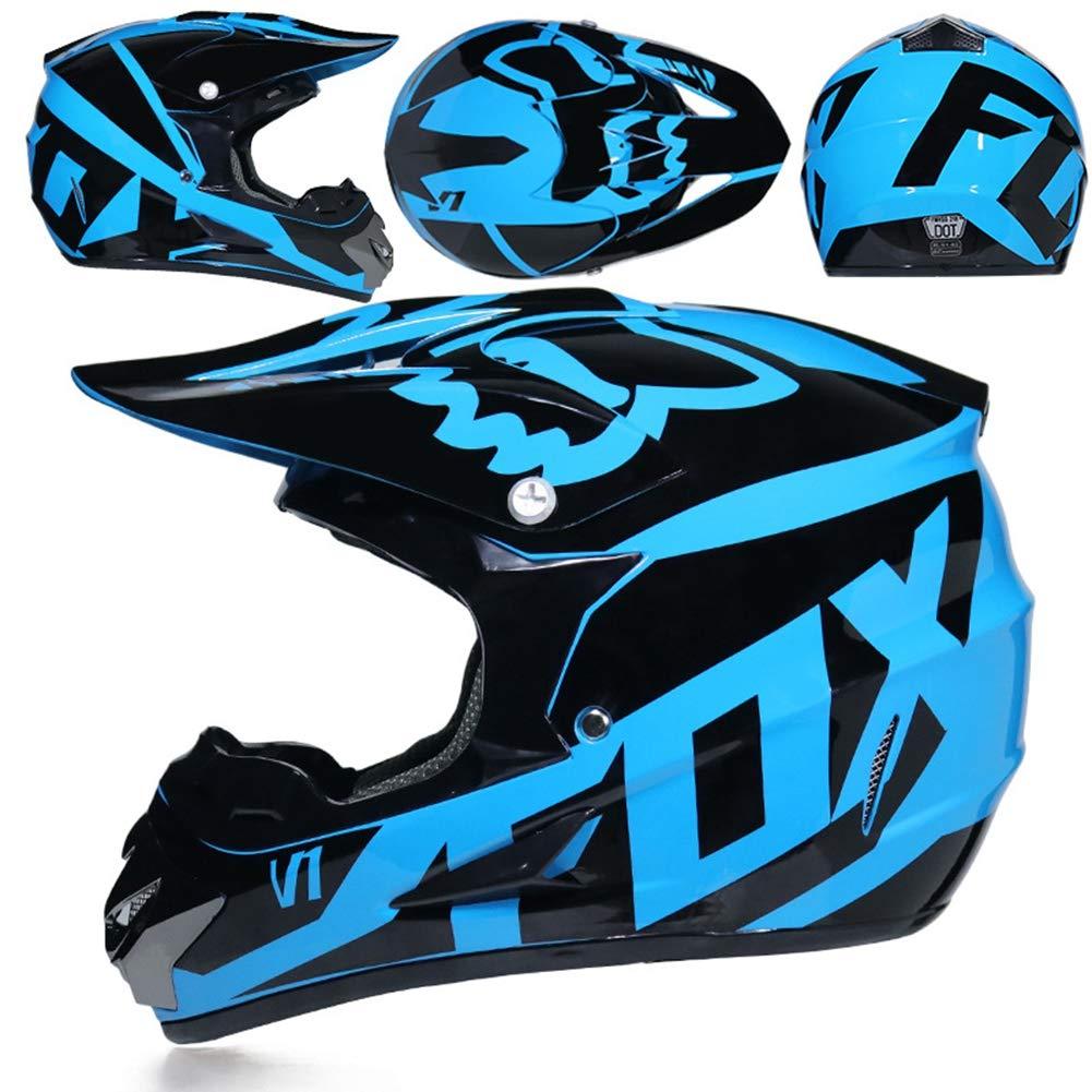 CYX-OUTDOOR Casque Motocross Adulte MX Moto Casque VTT Scooter Tout-Terrain Casque D.o.t AM Casque int/égral avec Lunettes de Protection//Masque Coupe-Vent//Gants Style 8