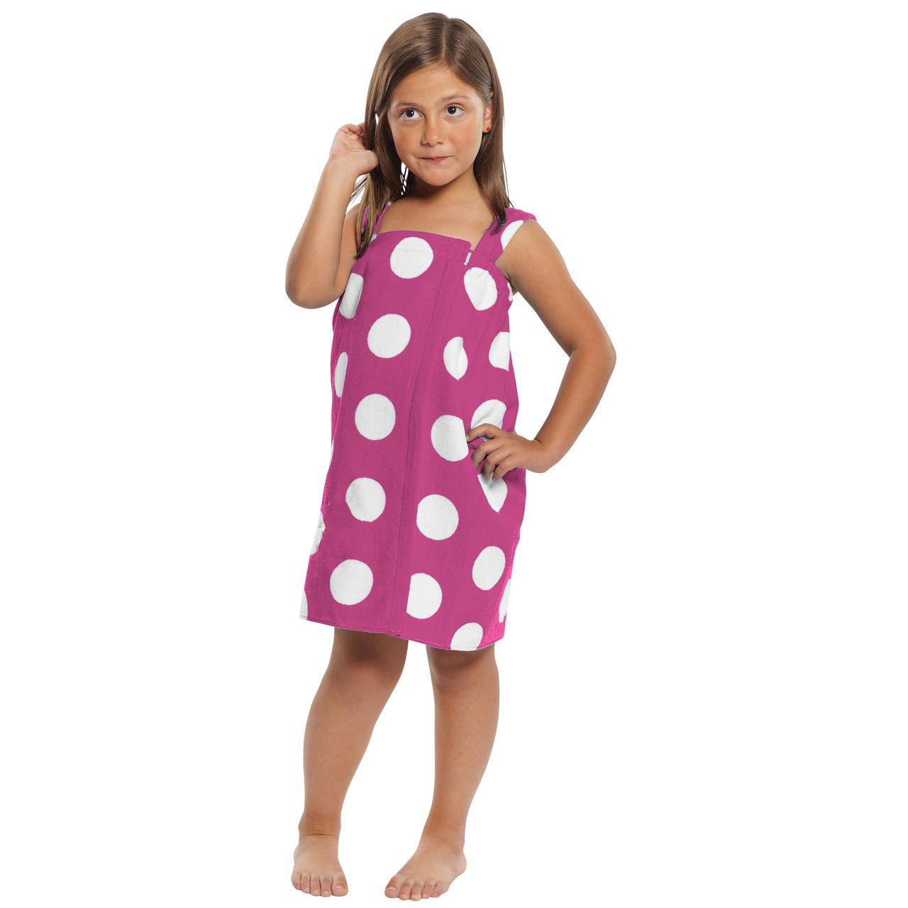 TowelRobes Kids Polka Dot Terry Velour Bath Wrap Towel 100% Absorbent Cotton for Kids