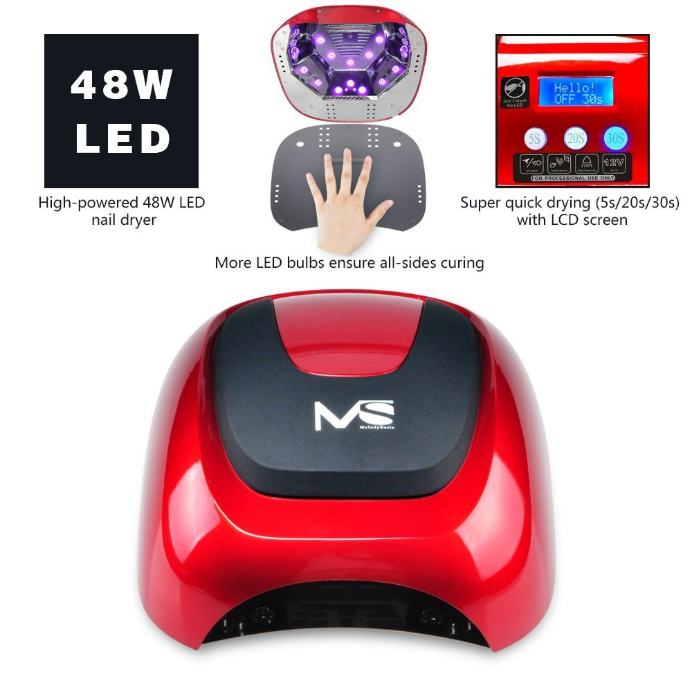 Amazon.com: MelodySusie 48W LED Nail Lamp   Smart Gel Nail Dryer With LED  Light Beads Curing All Brands LED Gel Nail Polish (Chic Red): Beauty