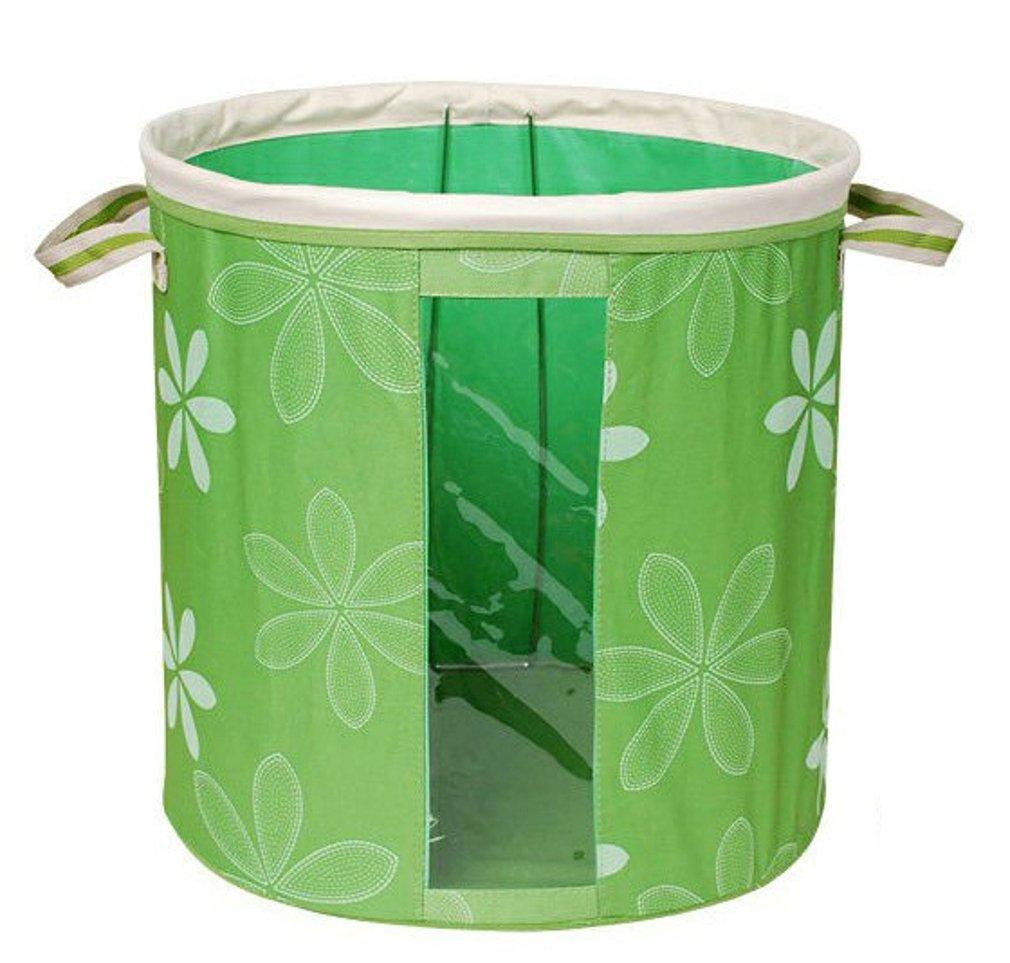 Elezay Oxford Steel Frame Foldable Laundry Hampe Basket See-through Window Storage Bin 1 PCS Green 40x40cm
