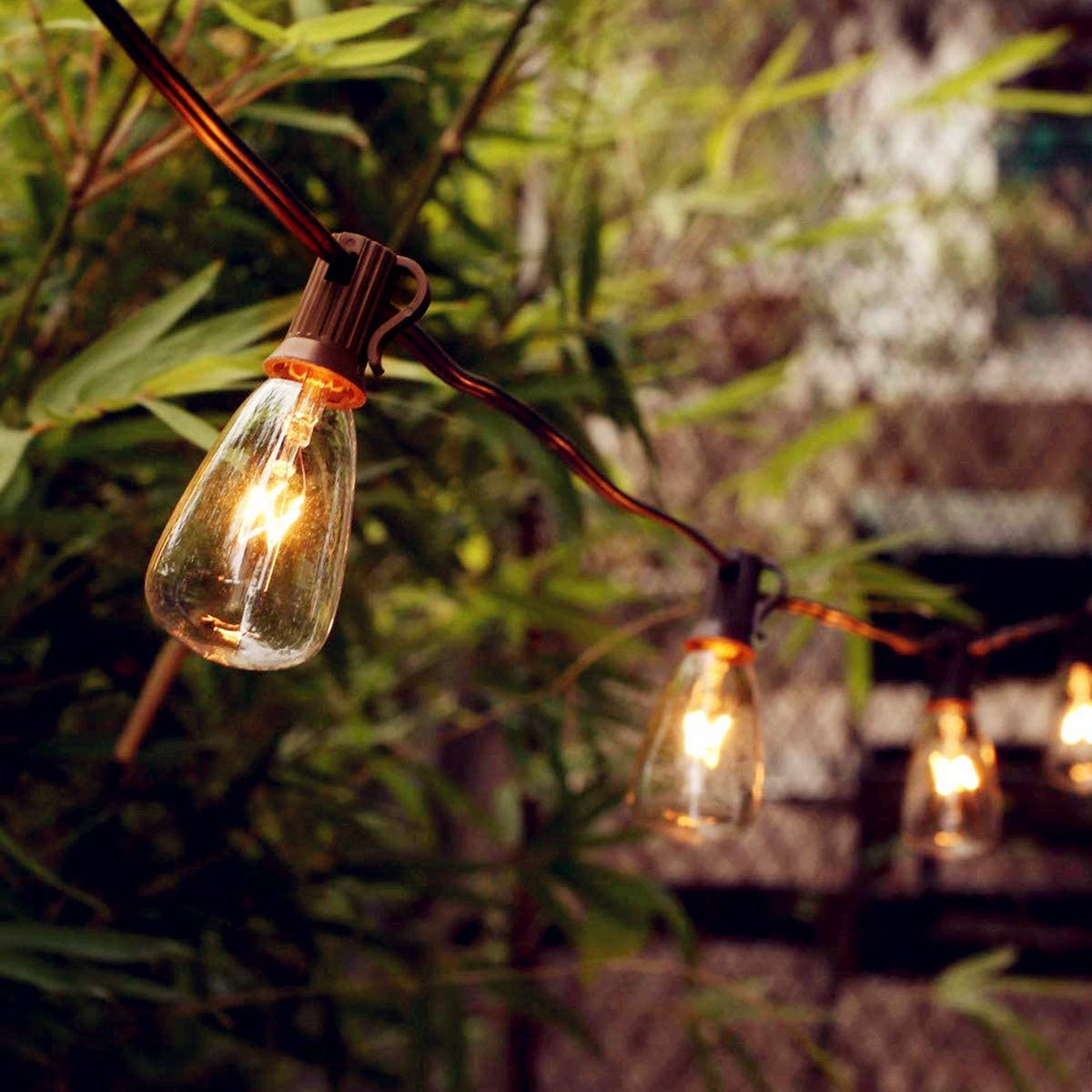 SUNSGNE 25ft Outdoor Edison String Lights with 25 Edison ST35 Bulbs, UL Listed for Indoor/Outdoor Decor, Perfect for Patio, Garden, Backyard, Porches, Bistro, (Plus 2 Extra Bulbs)-Brown Wire