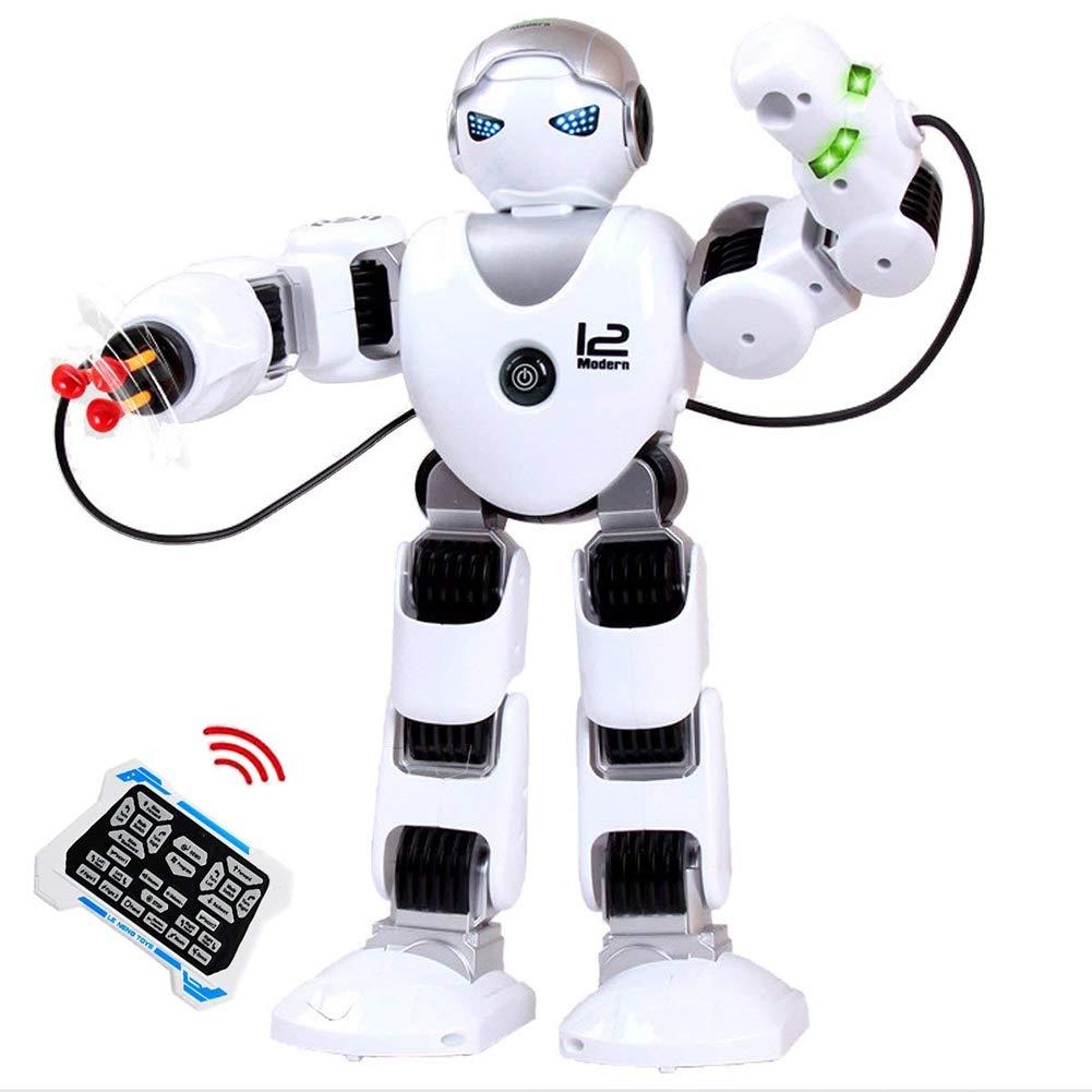 SLONG RC Robot Toy 2.4 G Smart Educativo Juguete para niños humanoide Inteligente niño compañero robótica Kit con Ojos LED Caminar Disparar música Baile Brazo-Swing