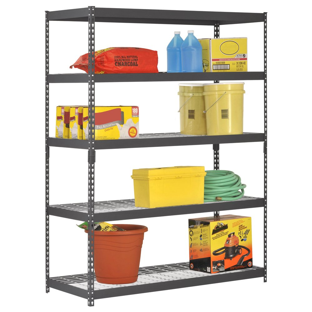 Edsal 5 shelf heavy duty steel shelving - Edsal Trk 602478w5 Heavy Duty Steel Shelving In Black 60x24x78 Inches Amazon Com Industrial Scientific