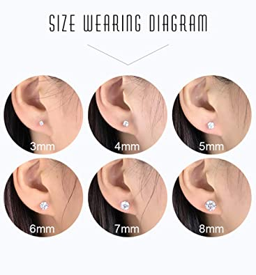 Sterling Silver Studs Earrings, 3-6 Pairs
