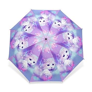 Exclusivo diseño de lifei negocio único personalizado gato sombrilla paraguas plegable 3 automático niño mujeres lluvia