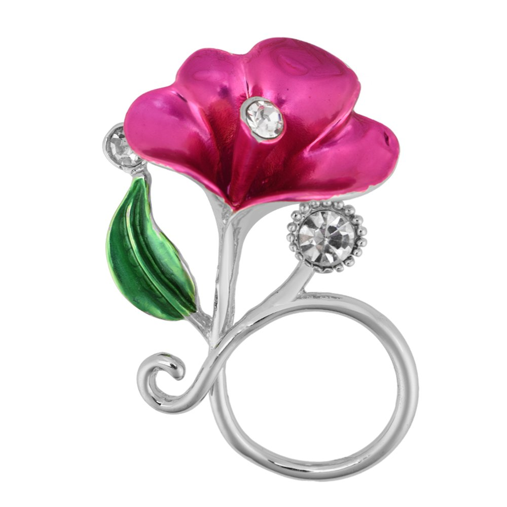 PANGRUI Exquisite Delicate Flower with Crystals Magnetic Eyeglass Holder Brooch Pin (Silver)