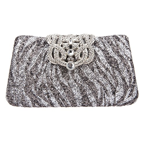 Fawziya Crown Zebra Pattern Glitter Clutches And Handbags Woman Evening Clutch Bags-Silver