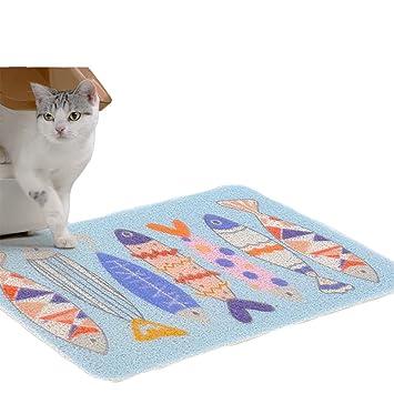 FLAdorepet Alfombrilla para gatos con trampa antideslizante para gatos, mascotas, alimentos, gatos, gatos, gatos, jaula, malla de PVC elástica de fibra: ...