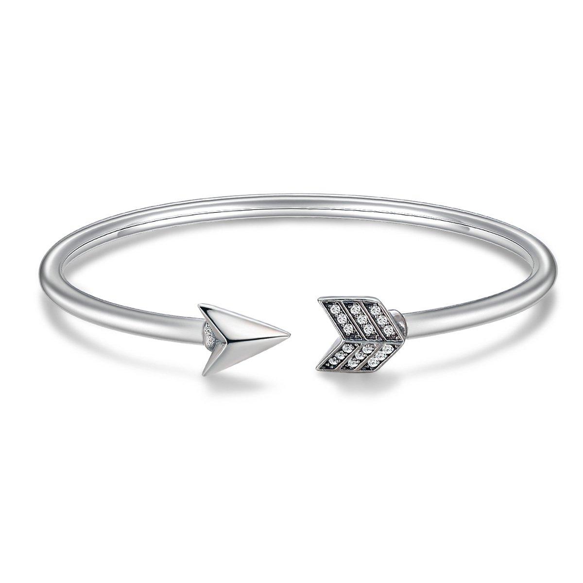 YAXING Genuine 925 Sterling Silver Cupid's Arrow Cuff Bracelets & Bangle for Women Jewelry (Cupid's Arrow Cuff Bracelets)
