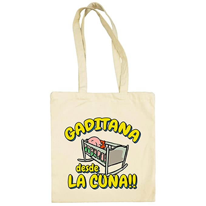 Bolsa de tela Gaditana desde la cuna Cádiz fútbol - Beige, 38 x 42 cm