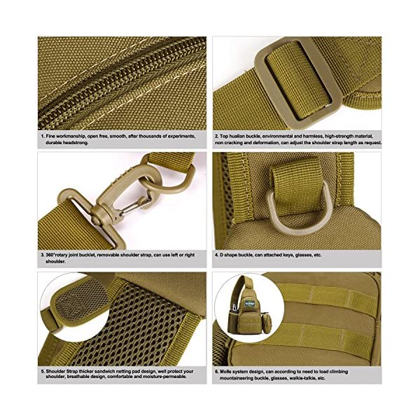 61NaLKQCr5L HUNTVP Taktisch Brusttasche Military Schultertasche mit Wasserflasche Halter Chest Sling Pack Molle Armee Crossbody Bag…