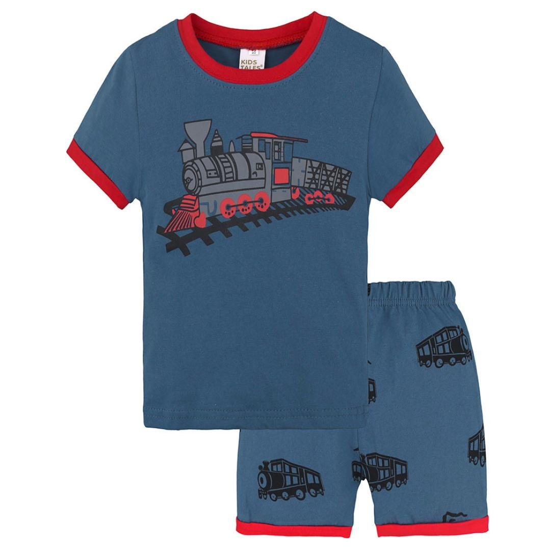 Kehen Little Boy Summer Clothes Cotton Pajamas Train Print Short Sleeve Tee + Shorts Soft Home Wear for Kid Toddler
