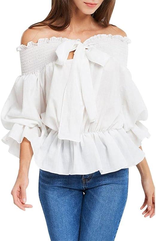 Camisas Mujer, 2018 Nuevo Blusas para Mujer Elegantes Sexy Camisas De Hombro sólidos Flounce Pajarita Blusa Camisa Blanca de Mujer con Volantes Camiseta de Fiesta niña: Amazon.es: Deportes y aire libre