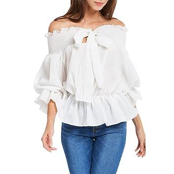 Camisas Mujer, ❤ Amlaiworld 2018 Blusas para Mujer Elegantes Sexy Camisas De Hombro sólidos