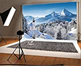 Laeacco 10x6.5ft Vinyl Backdrop Photography Background Panoramic Ciew Winter Scenic Wonderland Mountains Trees Landscape Alps Pilgrimage Church Maria Gern Watzmann Summit Backdrop Art Shoot