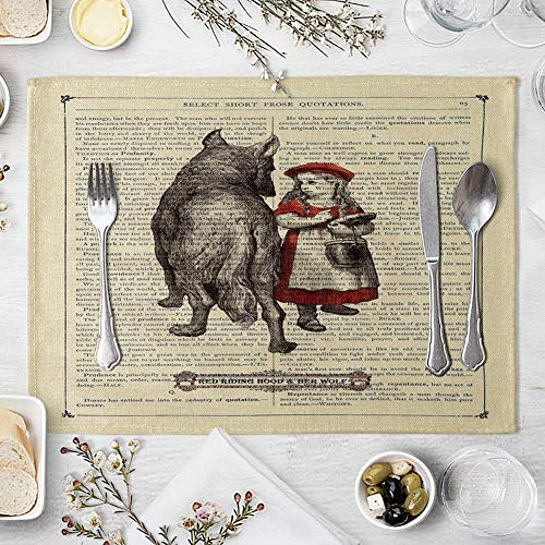 memorytime Animal Girl Book Page Heat Insulated Pad Kitchen Dining Table Mat Placemat Decor Kitchen Dining Supplies - 2# by memorytime (Image #5)