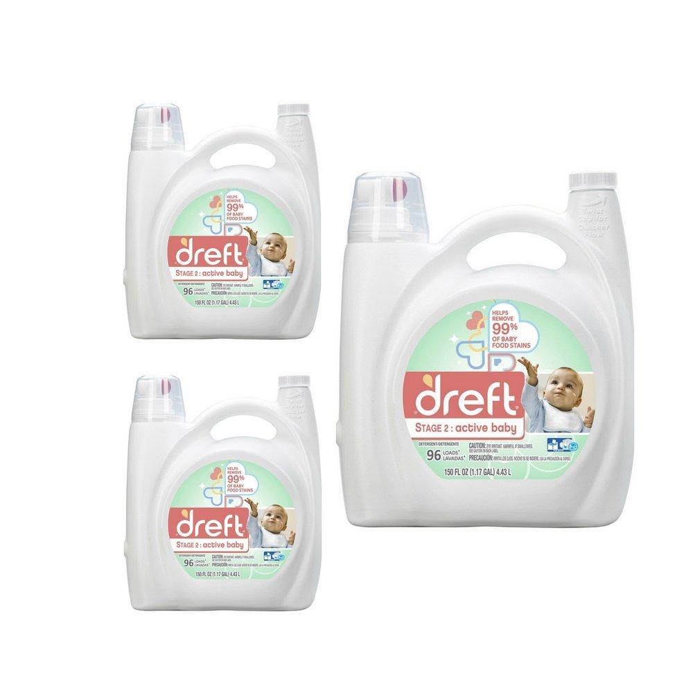 Dreft Stage 2: Active Baby Liquid Laundry Detergent (HE), 150 oz, 96 loads (3 Pack)