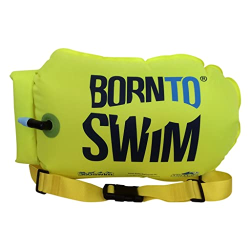 BORN TO SWIM SaferSwimmer Dry Bag and Buoy for Open Water Swimming and Triathlon Robust Visibility Tow Float for Safer Swimming [Neon Green, Heavy-Duty Large-20L]