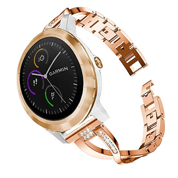 838343d0a for Garmin Vivoactive 3 Women Bands, ViCRiOR 20mm Quick Release Jewelry  Bangle Metal Stainless Steel
