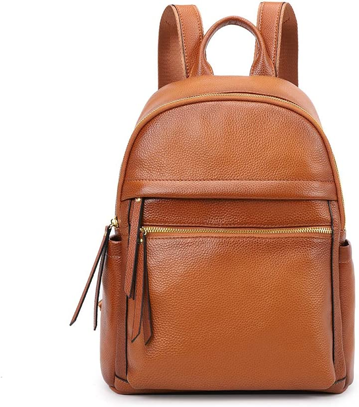 Kattee Genuine Leather Backpack Purse for Women Multi-functional Elegant Daypack Soft Leather Shoulder Bag Office, Shopping, Trip - Brown