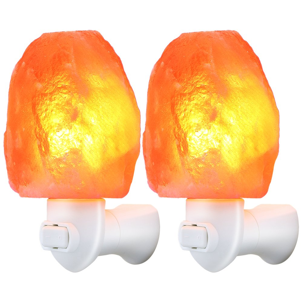 TomCare Salt Lamp, Himalayan Salt Light Glow Hand Carved Natural Crystal Himalayan Night Lights Wall Light with UL Approved Wall Plug for Decoration and Lighting (2) by TomCare