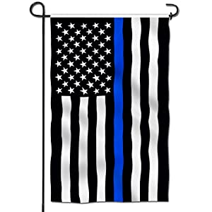 Anley [Double Sided Premium Garden Flag, Thin Blue Line USA Decorative Garden Flags - Weather Resistant & Double Stitched - 18 x 12.5 Inch