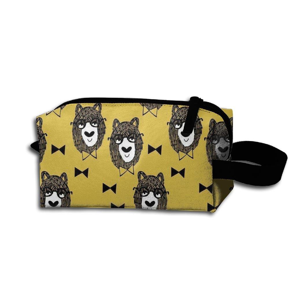 Yellow Bowtie Bear With Sunglass Travel Cosmetic Bag Portable Organizer Multifuncition Handbag by Cuoffer