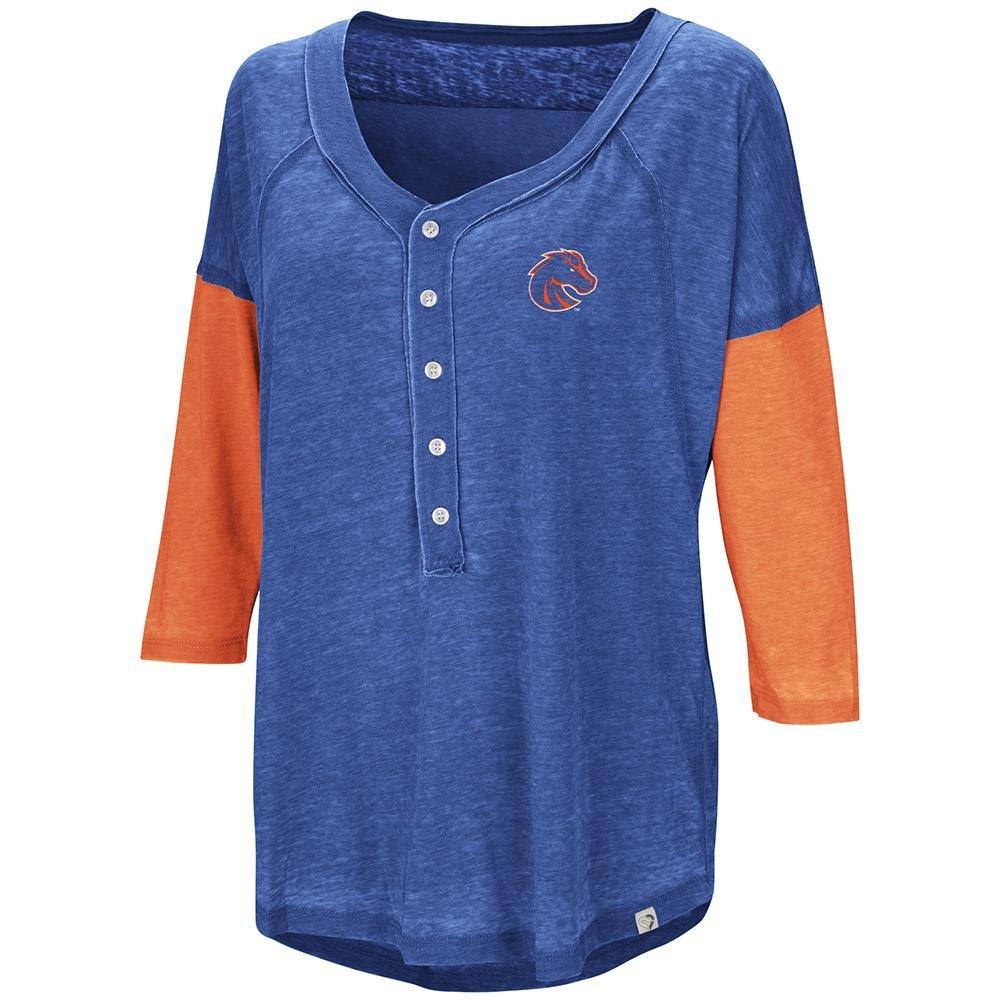 Womensボイジー州立ブロンコスHenley Teeシャツ B07CCFY3J5  Large