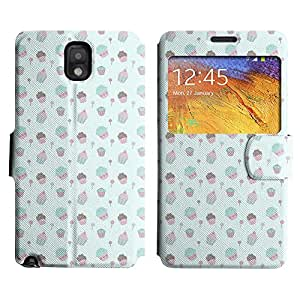 AADes Scratchproof PU Leather Flip Stand Case Samsung Galaxy Note 3 III ( Cute Cupcakes )