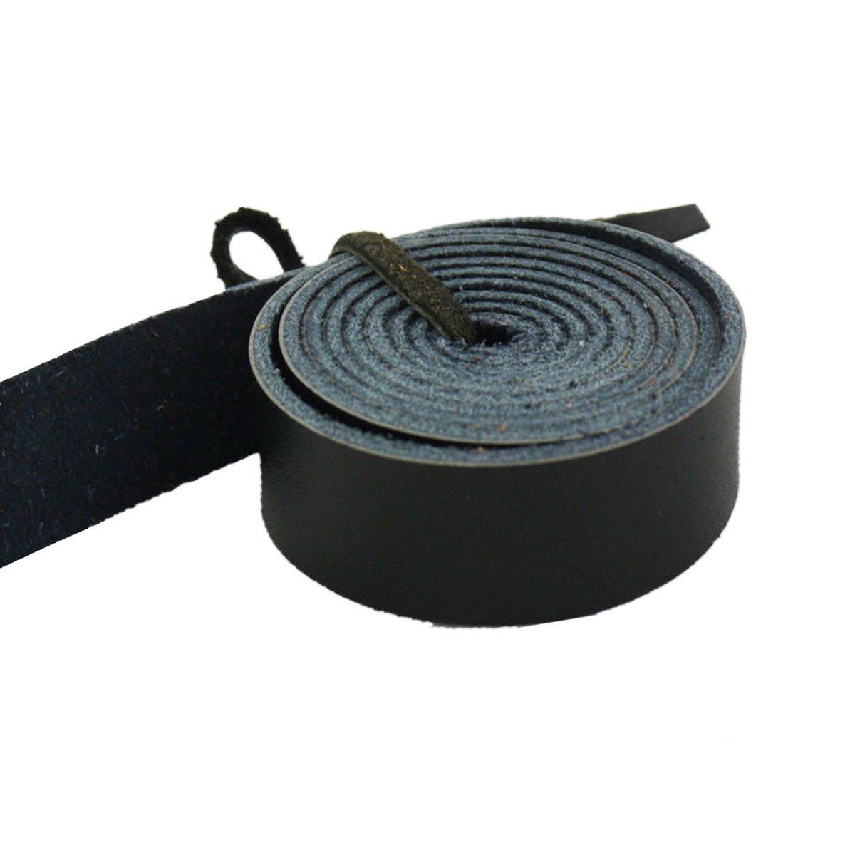 lieomo Leathercraftブラック本革ストラップ、15 mm、1ヤード B073P1M9BH