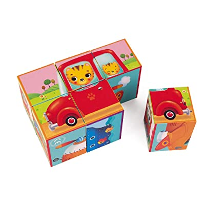 Janod J02734 Kubkid-6 Blocks-Vehicles, Multicolored: Toys & Games