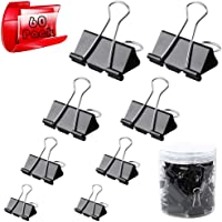 Metal Bulldog Clip Large Paper Clips 4 Sizes Bulldog Clips 32mm 25mm 19mm 15mm Foldback Clips Clamp Binder Clips Black Pack of 60