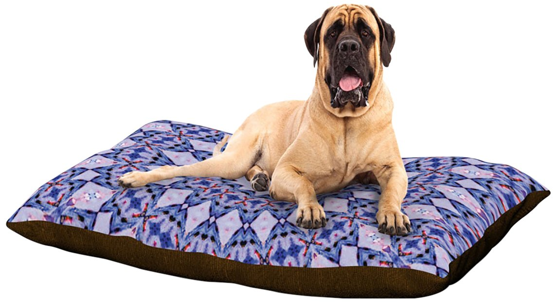 Kaleidoscope XLarge 40  x 50 Kess InHouse Iris Lehnhardt Summer Lace III Pink Green Circle Dog Bed, 50 by 60Inch