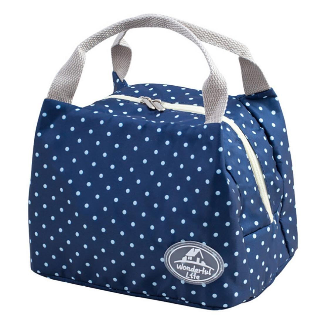 KFSO Lunch Bag Clearance Sale! Square Insulated Cold Canvas Dot Stripe Picnic Carry Case Thermal Portable Zipper Lunch Bag (D)