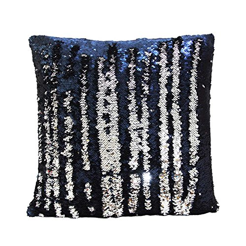 Fengheshun Reversible Sequins Pillowcase Mermaid Pillow Covers 40×40 cm Two Color Changing (Navy Round Front Toilet Seat)