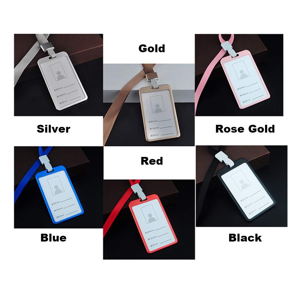 Festnight Porta Badge Collo con Laccio Carta Identificazione Nome Distintivo Supporto Proprietario Credito Sottile Lavoro Daffari Lega Alluminio Stile Verticale Bambini Ragazze Donne Viaggiano