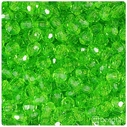 BeadTin Lime Transparent 8mm Faceted Round Craft Beads (450pcs) ()