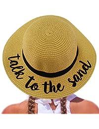 C.C Girls Kids Wording Sayings Summer Beach Pool Floppy Dress Sun Adjustable Hat Natural (Talk to The Sand)
