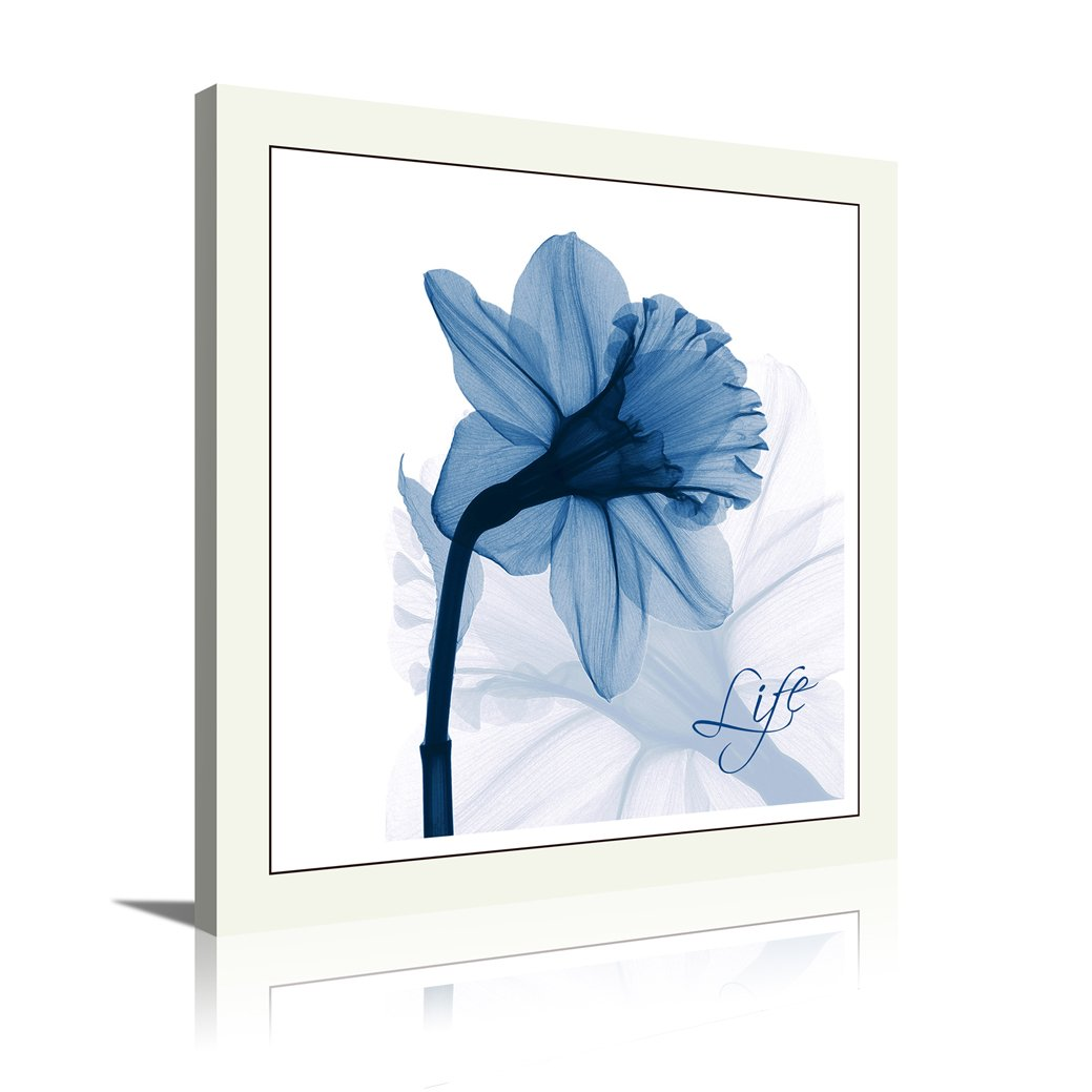 HLJ ART 4 Panels Crystal Theme Giclee Flickering Blue Flowers Printed Paintings on Canvas for Wall Decor Blue, 16x16inchx4pcs
