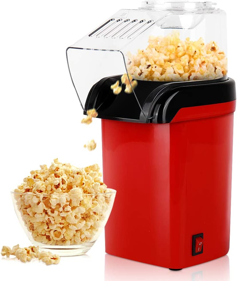 Hot Air Popcorn Maker Machine, RegeMoudal 1200W Home Popcorn Popper, Healthy Oil-Free for Parties & Kids Easy to Clean, 2- 3 Minutes Fast (Red)