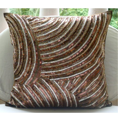 Luxury Brown Decorative Pillow Cover, Contemporary Pillow Covers, 12?x12? Decorative Pillow ...