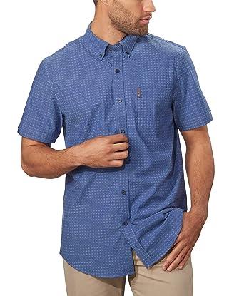 fc635ad0acef7 Ben Sherman Men's Short Sleeve Stretch Woven Button-Down Shirt (Blue,  Medium)