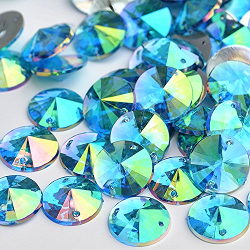 Bright 150pcs 10mm Round Crystal Blue AB Acrylic 2 Holes Sew on Rhinestones Flatback Sewing Stones For Clothes Dress Crafts Garments Accessory