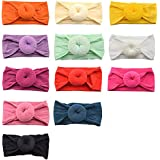 Baby Girl Headbands and bows,12 Pack Nylon Turban Round Knot Headband for Newborn Toddler Infant Girls