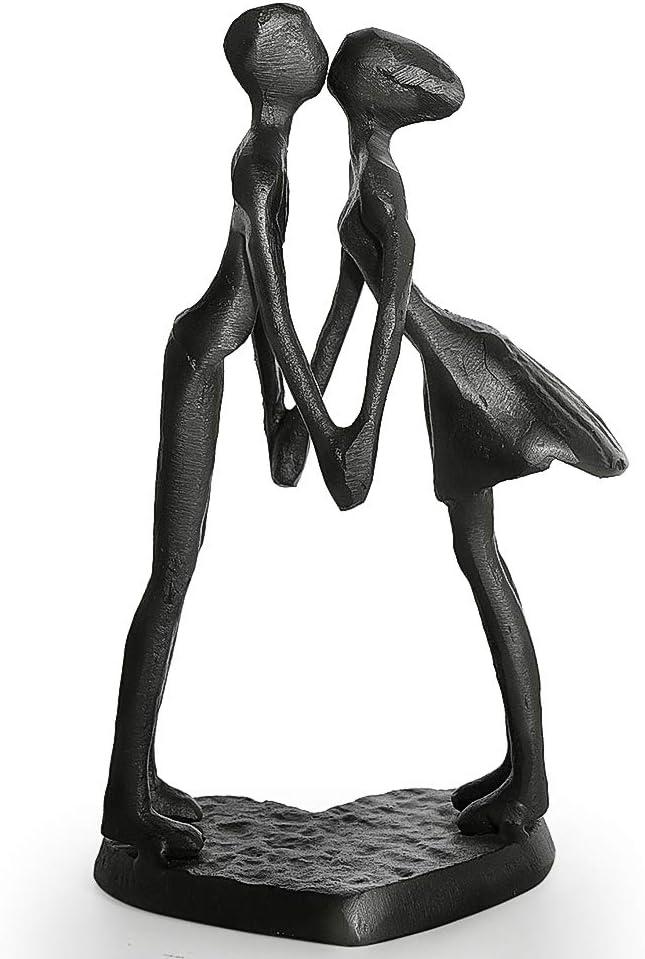 Aoneky Estatua de Pareja de Metal - Figura Decorativa de Parejas Novios Escultura de Hierro, Regalo para San Vanlentín Aniversario de Bodas Navidad, Decoración Romántica Moderna del Hogar Casa Oficina