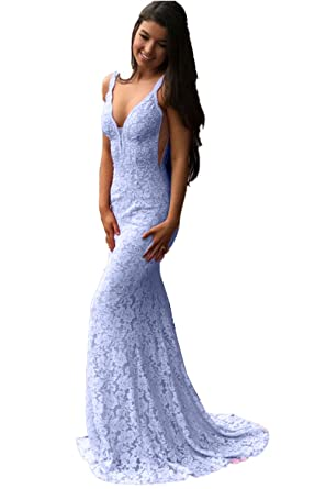 762abf97f1 Promworld Women s Double V Neck Lace Mermaid Evening Gowns Long Prom Dress  Ice Blue US2